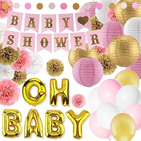 Amazon Com Eurus Home Girl Baby Shower Decorations Kit 37