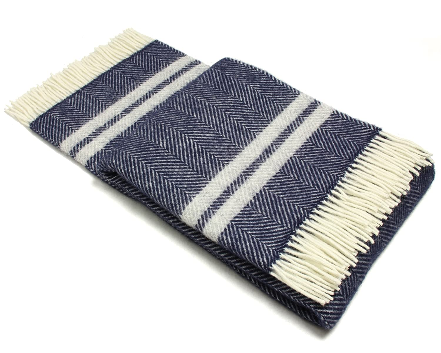 amazoncom wool throw blanket by tweedmill  pure new wool  - amazoncom wool throw blanket by tweedmill  pure new wool  lifestylefishbone two stripe (navy  silver gray) home  kitchen