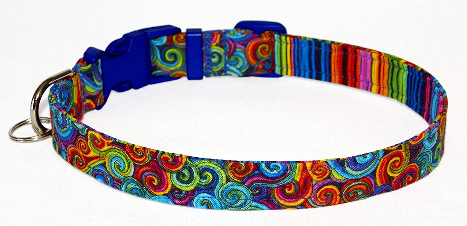 Rainbow Swirls Dog Collar 100/% Cotton Size XL Adjusts 17 to 27 Inches 3//4 Inch Wide Colorful Psychedelic Geometric