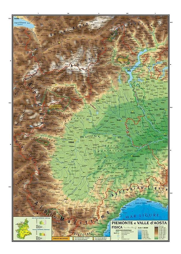 Il Piemonte Cartina Geografica.Carta Geografica Murale Regionale Piemonte E Valle D Aosta 100x140