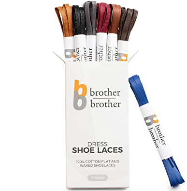 965b426908d5e Brother Brother Colored Oxford Shoe Laces for Men (7 Pairs) Cotton Flat and  Waxed Shoelaces for Dress Shoes | Gift Box with Royal Blue, Black, Dark ...