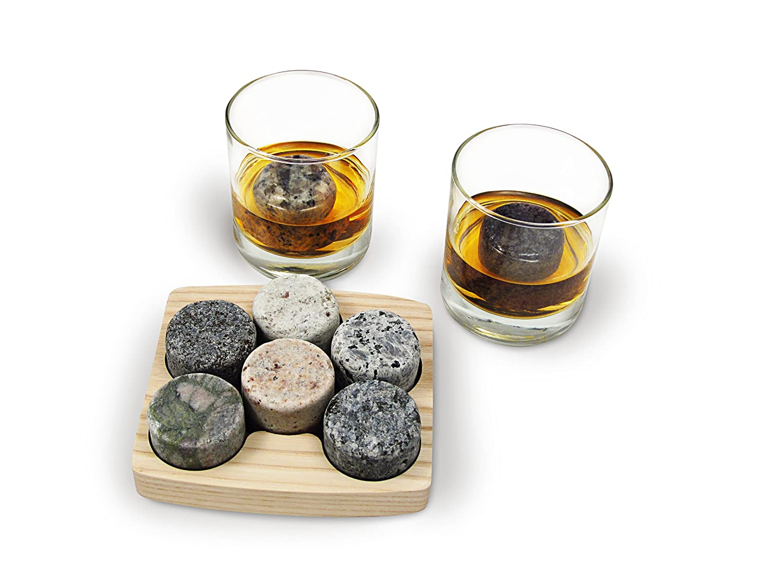 Sea Stones On the Rocks Granite 6-Piece Whiskey Chilling Stones Set with Two 10-Ounce Tumblers and Hardwood Presentation/Storage Tray OTR-T