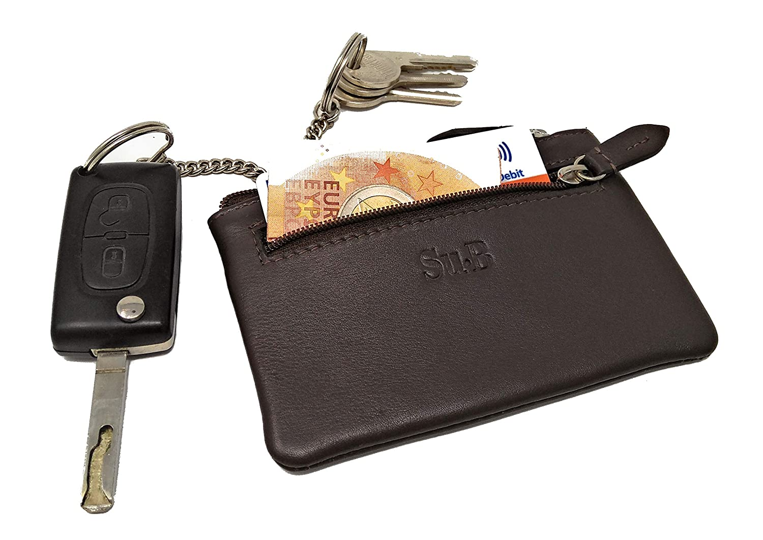 Su.B.dgn Genuine Leather Key Wallet | Key Holder with Zipper Coin Card Pocket | Color