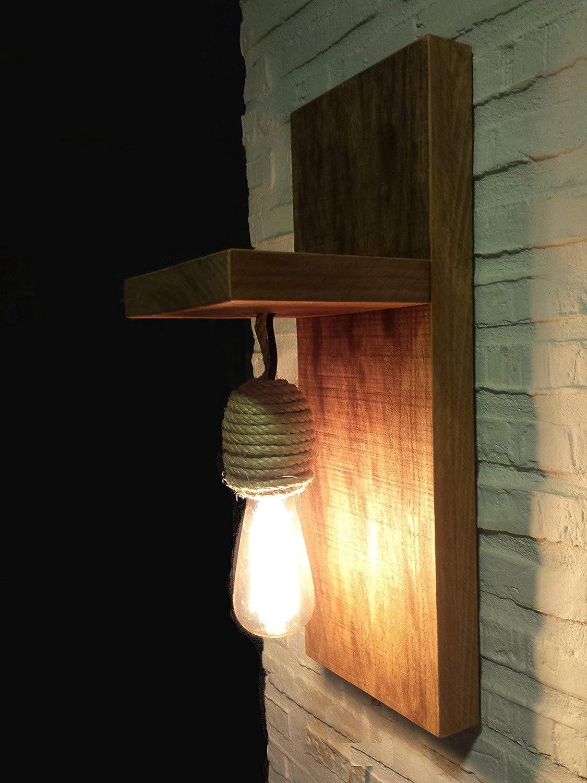 Lámpara rústica de madera maciza y cuerda