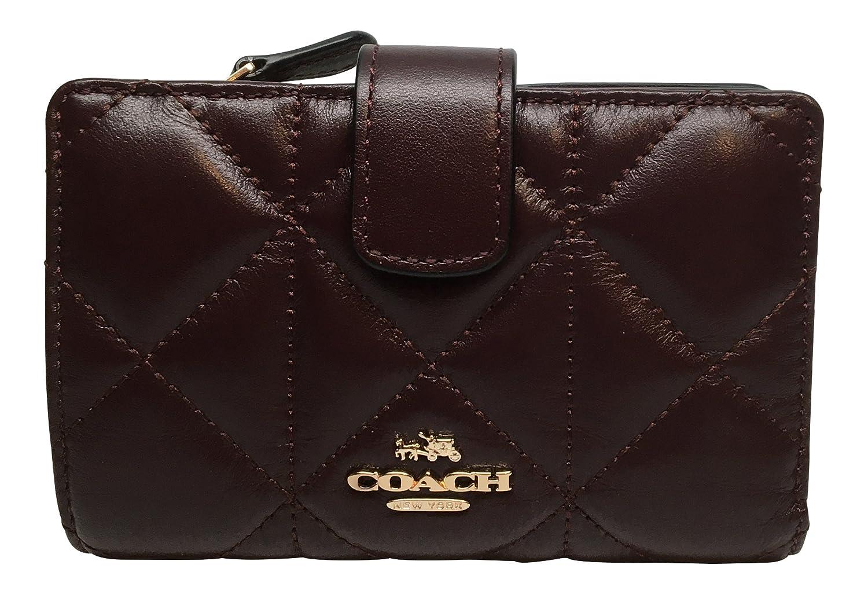 Coach Quilted Leather Medium Corner Zip Wallet Oxblood 56573