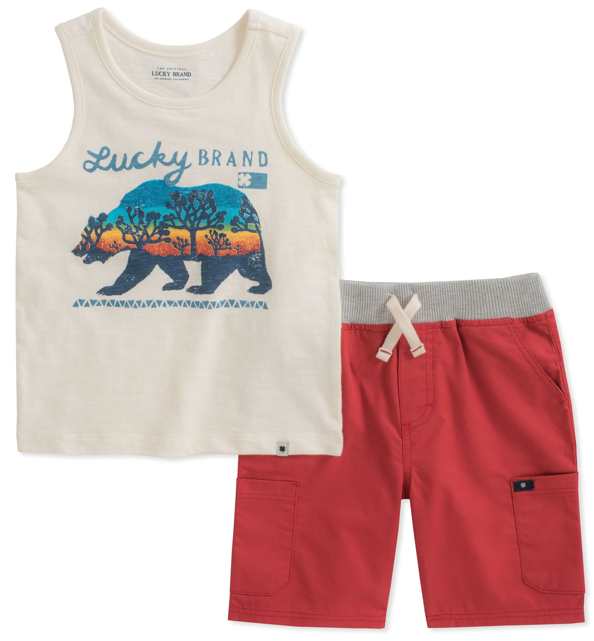 Lucky Brand Little Boys' Tank Top Shorts Set, Oatmeal/Red, 5