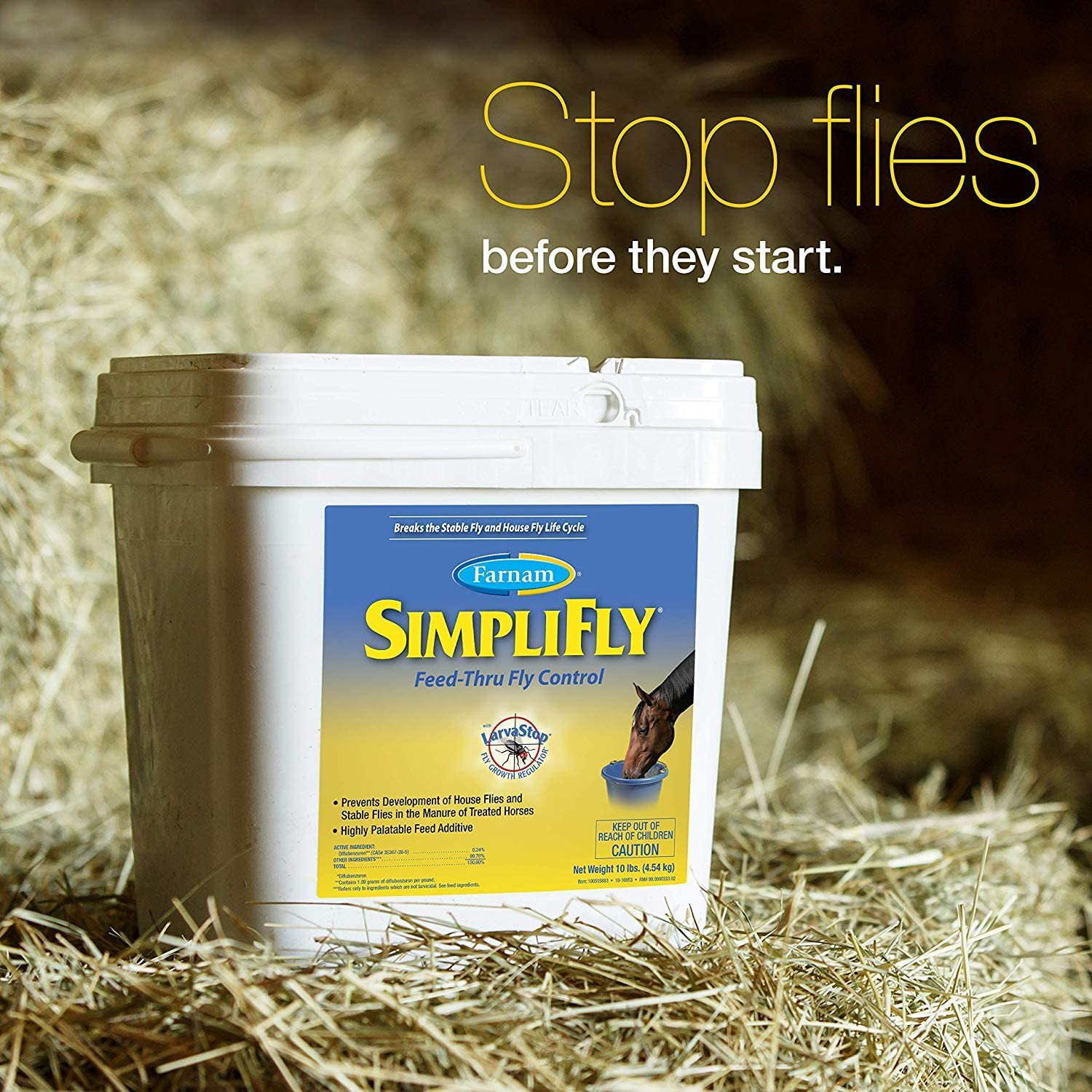 B000I1PIEO Farnam SimpliFly Feed-Thru Fly Control for Horses, Breaks and Prevents the Fly Life Cycle, 10 pound 81zrpVzF9vL.SL1500_