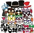 Tinksky 60pcs Adulte Photo Drôle Les Accessoires Sur Une Bâton Lunettes Bonnet Barbe Bowknot Moustache Barbe Masques Couronne