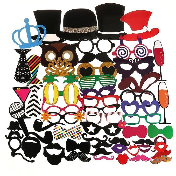 Tinksky 60pcs adultos Funny Photo Booth Props gafas barba Tie corona del sombrero para boda cumpleaños Navidad fiesta Favor: Amazon.es: Juguetes y juegos