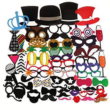 Tinksky Photo Booth Props 60pcs Kit For Wedding Party Birthdays Photobooth Dress Up Accessories