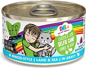B.F.F. OMG - Best Feline Friend Oh My Gravy!, Selfie Cam! with Chicken & Lamb in Gravy Cat Food by Weruva, 2.8-Ounce Can (Pack of 12)
