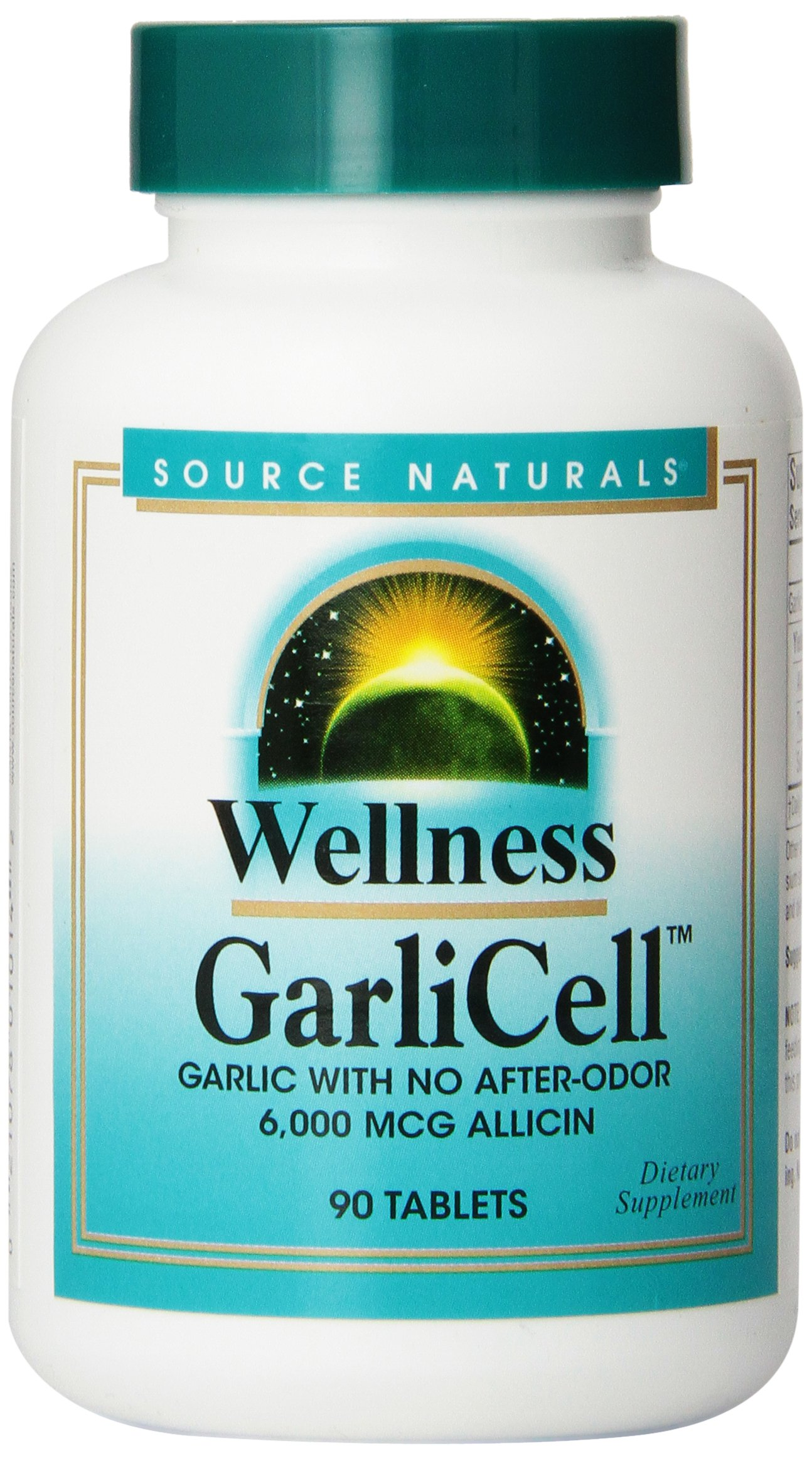 Source Naturals Wellness GarliCell 6000mcg, Garlic with No After-Odor, 90 Tablets