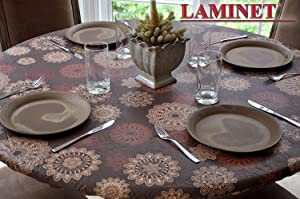 """LAMINET Elastic Fitted Table Cover - MEDALLION - Large Round - Fits tables up to 45"""" - 56"""" Diameter"""