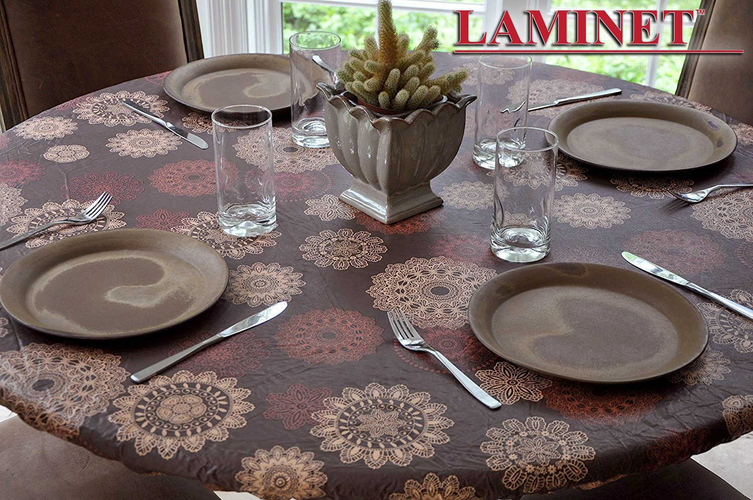 LAMINET Medallion Elastic Table Top Cover - Large Round - Fits Up To 45''-56'' Diameter