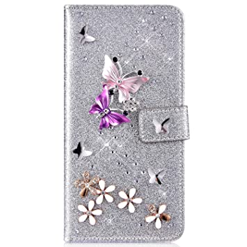 IKASEFU Compatible with iphone XS Max Case,Shiny butterfly Rhinestone Emboss Love shape Floral Pu Leather Diamond Bling Wallet Strap Case with Card Holder Magnetic Flip Cover For iphone XS Max,purple
