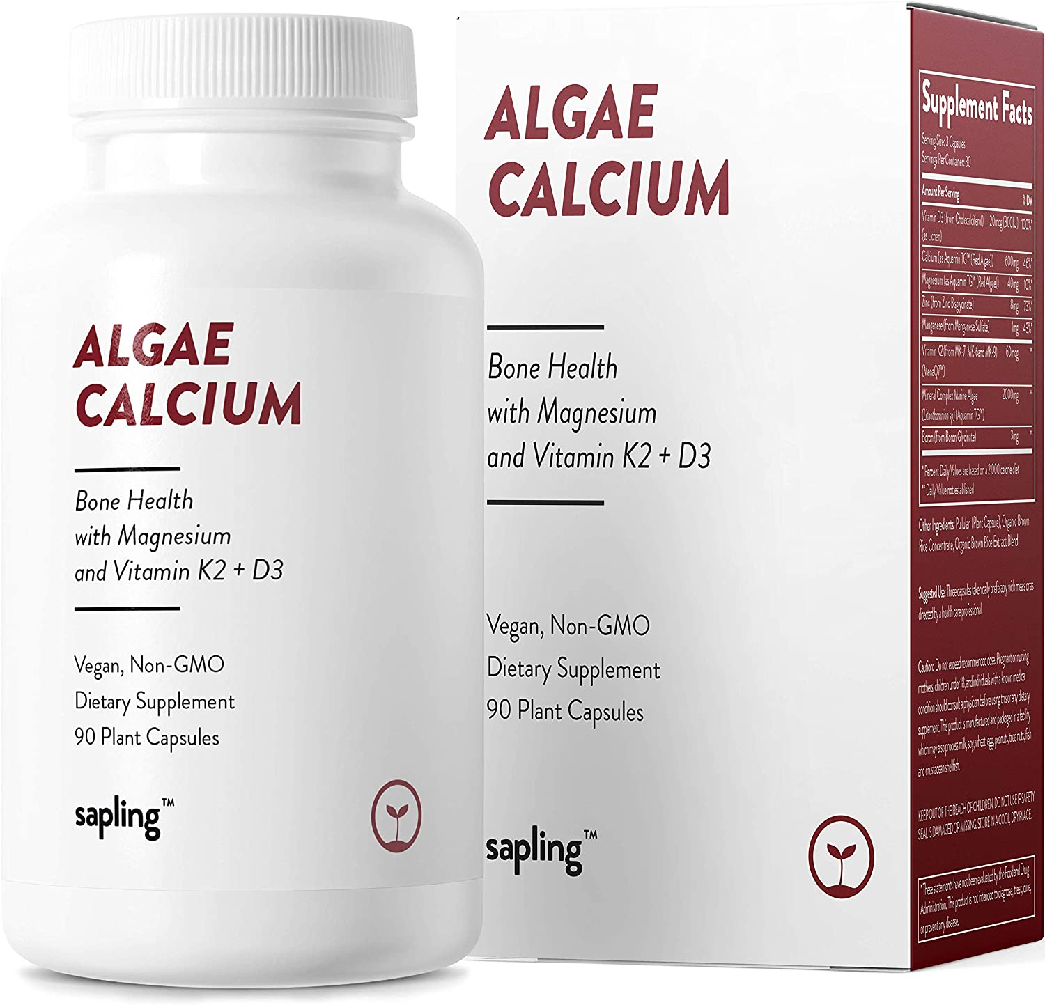 Calcium Supplement - Whole Food with Vitamin K2 & D3, Magnesium, Zinc, Boron, Mineral Complex. Sourced Sustainably from Red Algae. for Bone Strength and Support. Non-GMO & Vegan 90 Capsules.