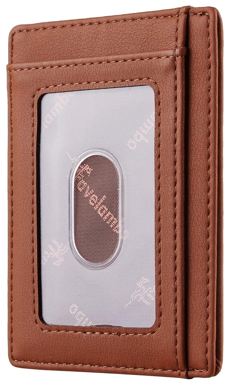 Travelambo Front Pocket Wallet Minimalist Wallets Leather Slim Wallet RFID Blocking Crosshatch black