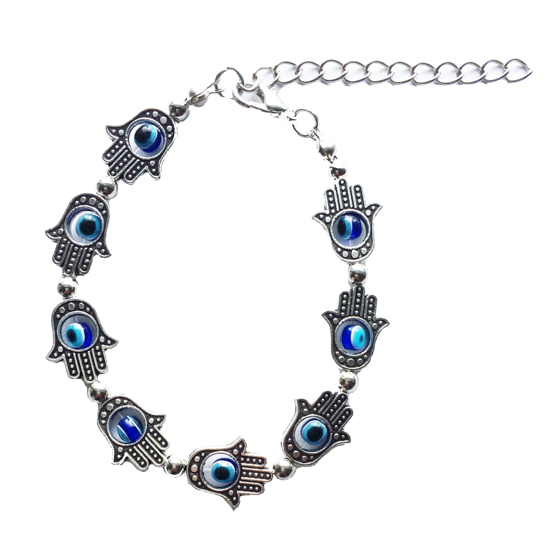 Secret for Longevity Silver Tone Hamsa Hand Blue Evil Eye Hand of Fatima Miriam Khamsa Kabbalah Judaism Muslim Good Luck Charm Bracelet