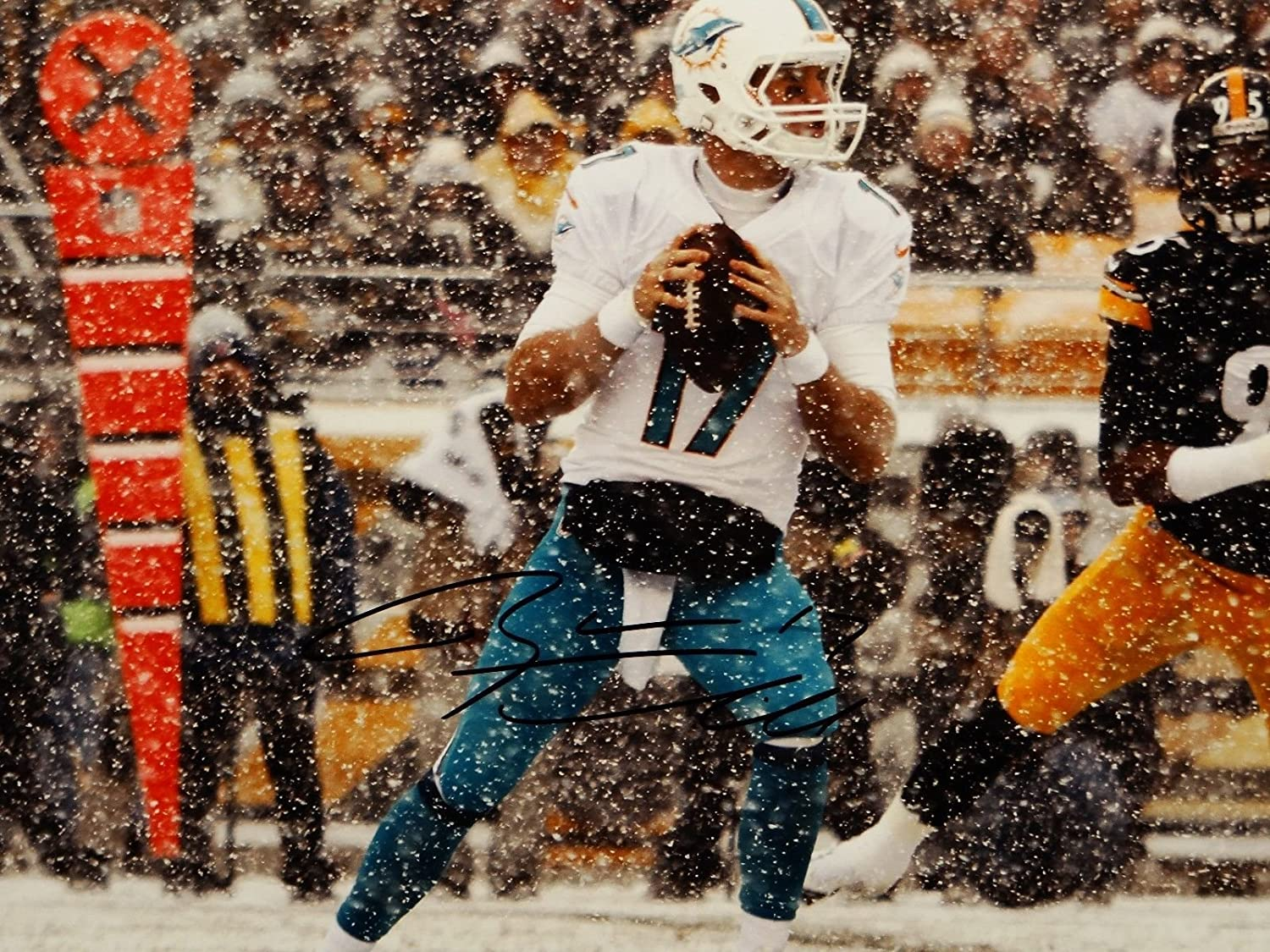 JSA Auth Ryan Tannehill Autographed 16x20 Miami Dolphins Running In Snow Photo