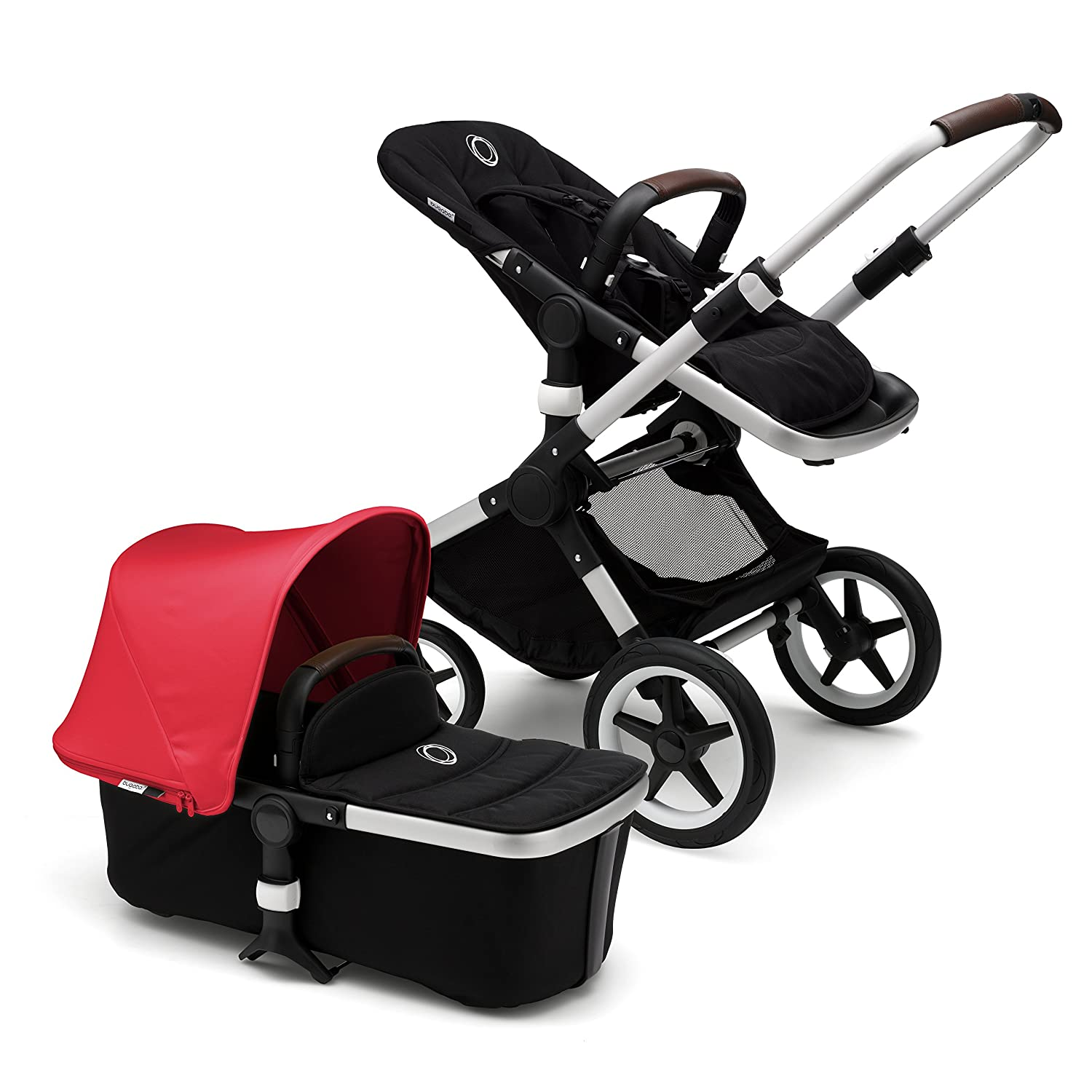 Bugaboo Fox Classic Complete Stroller, Alu/Grey Mé lange - Fully-Loaded Foldable Stroller with Advanced Suspension and All-Terrain Wheels 231170AE01