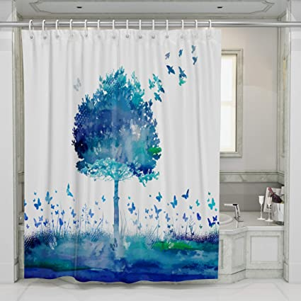 Decoration Bathroom Shower Curtain Set Blue Art Romantic Tree Printing Polyester Fabric Curtains
