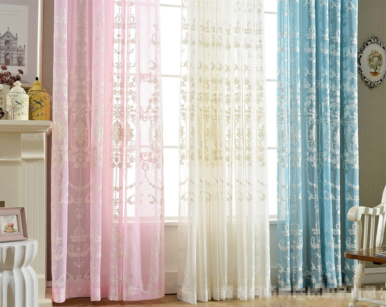 AliFish 1 Panel Rod Pocket Pastoral Style Embroidered Floral Sheer Curtains Half Shading Decorative Window Treatment Voile Drapes for Living Room Sliding Glass Door