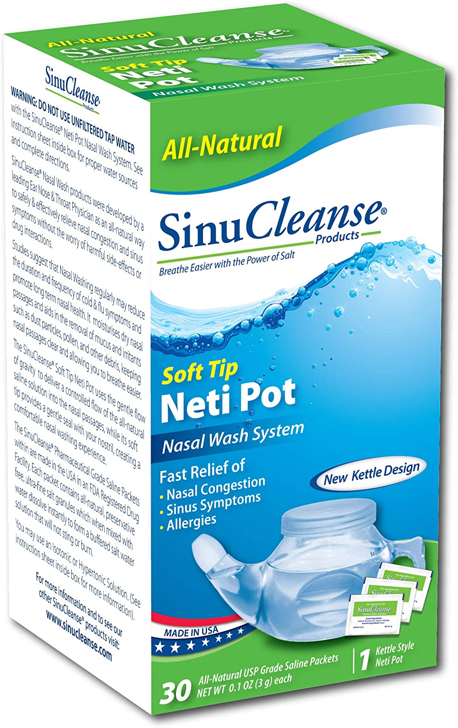 SinuCleanse Nasal Wash System, Plastic Soft tip Neti Pot with Salt Packets
