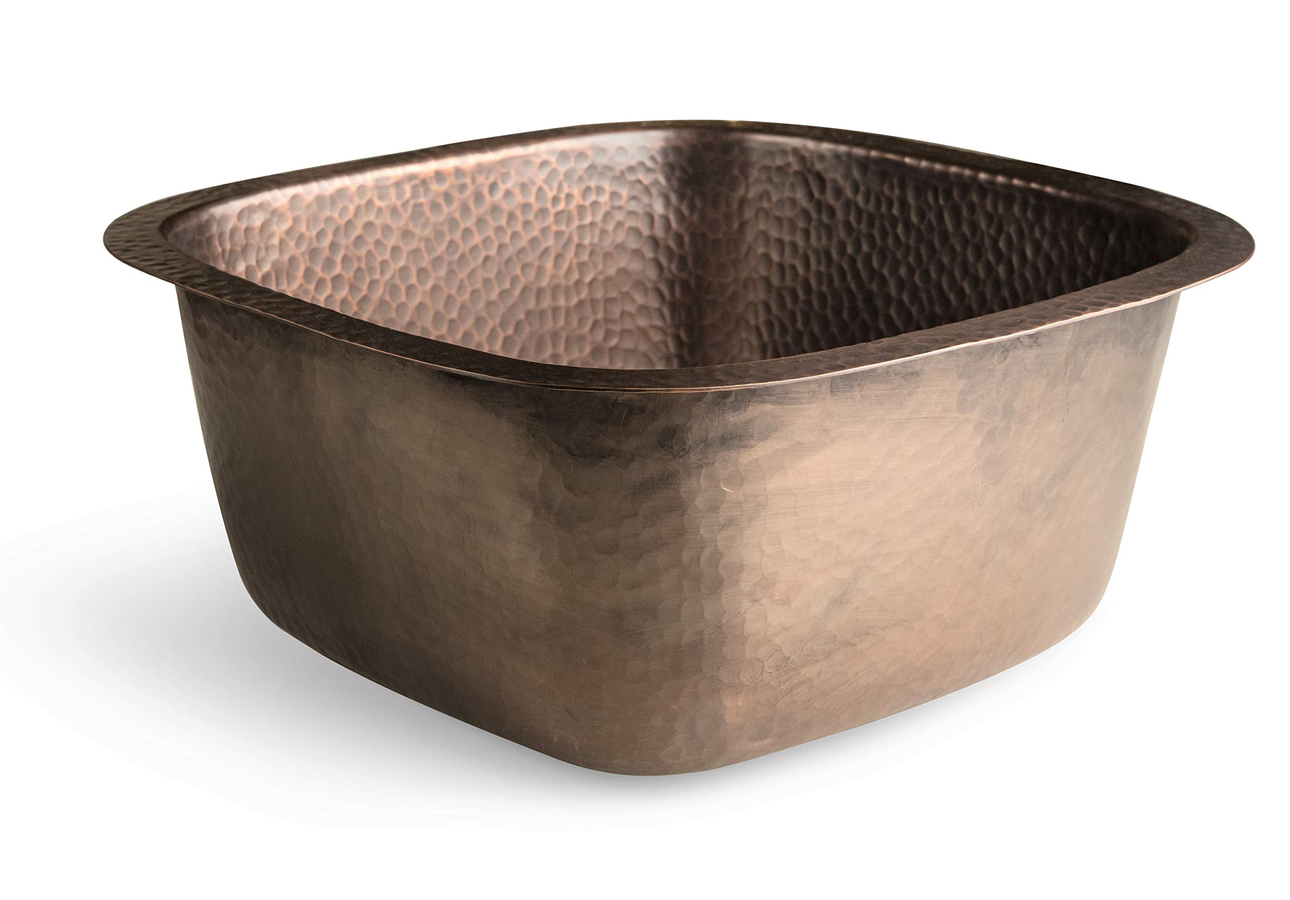 Monarch Abode 17091 Monarch Pure Copper Hand Hammered Atlas Dual Mount Bar Prep Single Bowl Kitchen Sink, by Monarch Abode (Image #2)