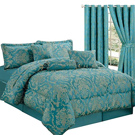 Luxury Jacquard 7 Piece Comforter Set Quilted Bedspread Include 1 X