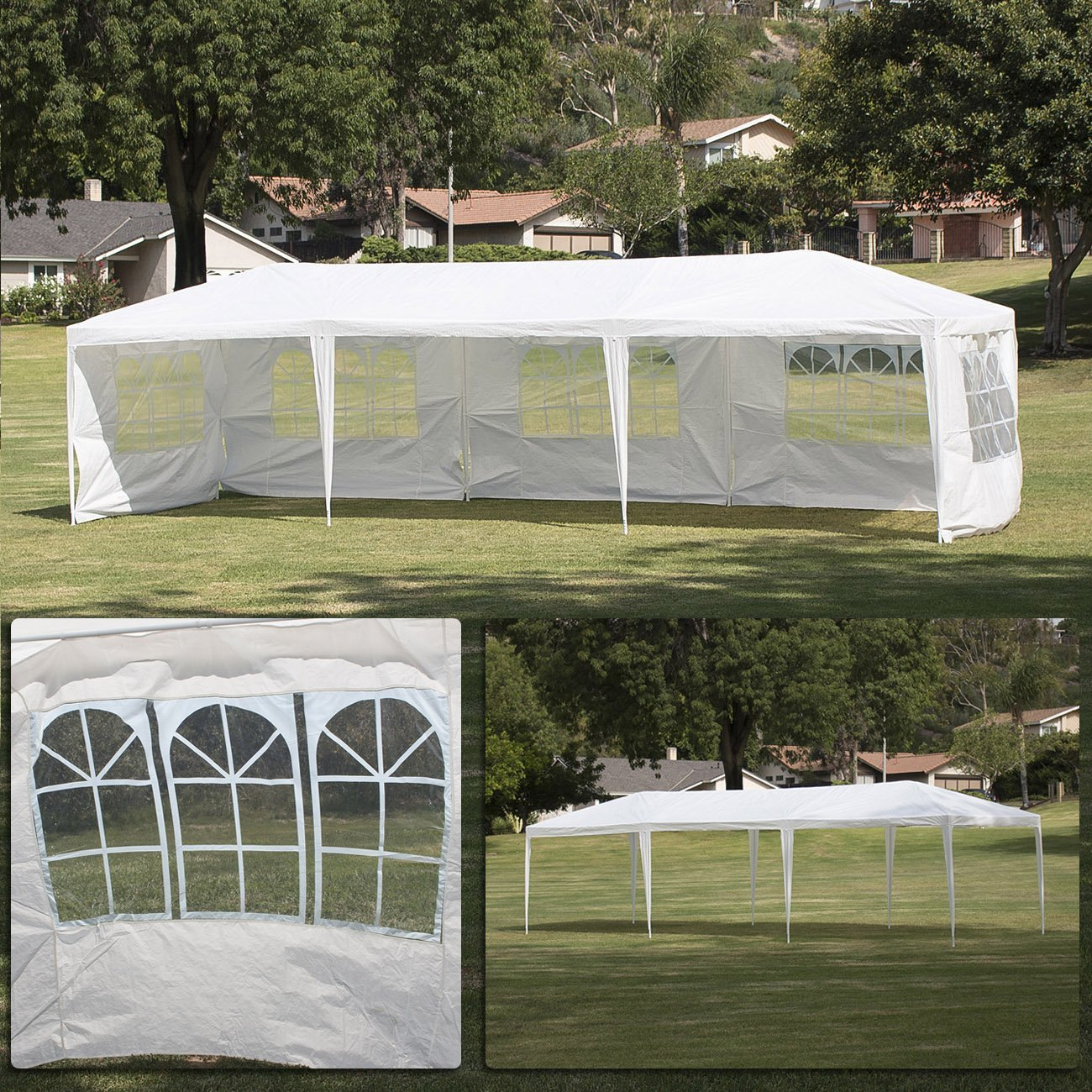 Amazon.com : Belleze 10u0027x30u0027 Canopy Party Wedding Outdoor Tent Shade (5)  Removable Side Wall, White : Patio, Lawn U0026 Garden