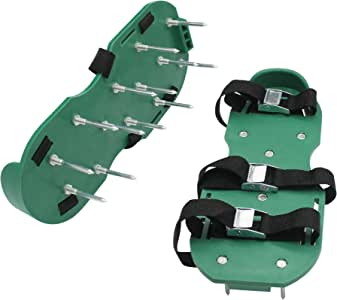 sun life Lawn Aerator Spike Shoes with Metallic Buckles and 3 Adjustable Straps, Heavy Duty Spiked Sandals for Aerating Your Lawn Or Yard (Green)