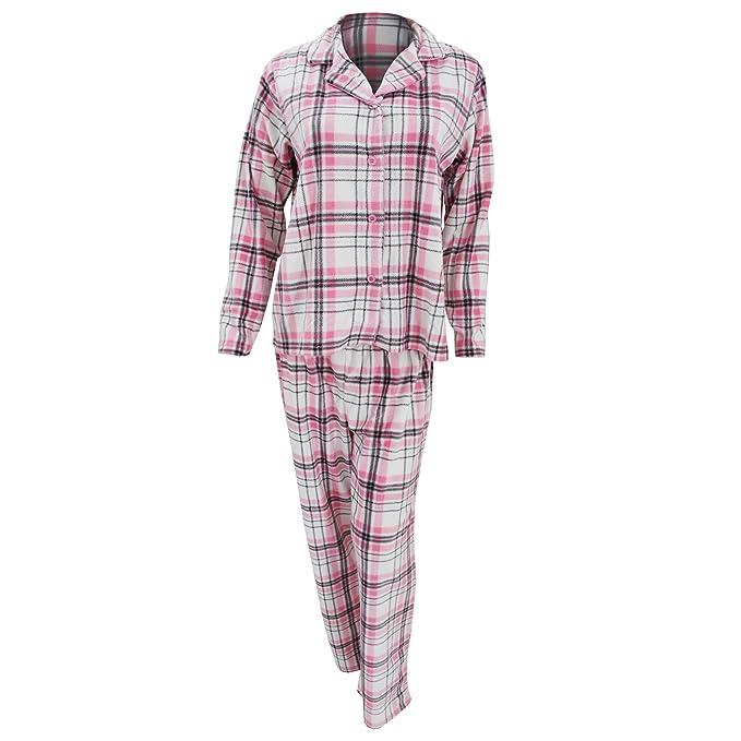Conjunto de pijama polar con estampado de cuadros escoceses rosas de manga larga para mujer (