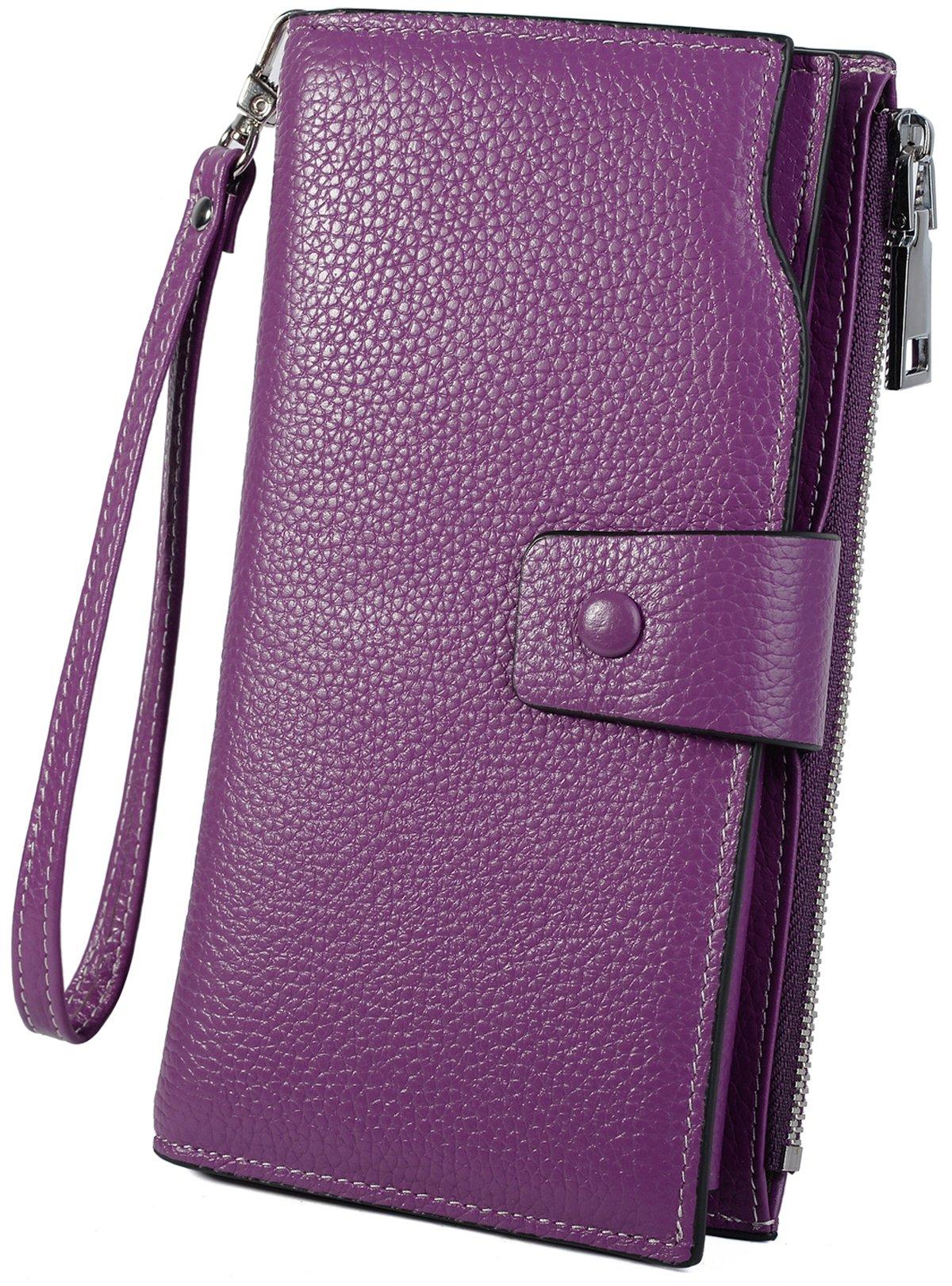 YALUXE Women's Wax Genuine Leather RFID Blocking Clutch Wallet Wallets for Women Purple