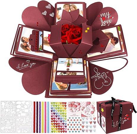 WisFox Explosion Box, Creativo DIY Hecho a Mano Sorpresa Explosión Caja de Regalo, Álbum de Fotos de Scrapbooking Caja de Regalo para Cumpleaños Día de San Valentín Aniversario Navidad (Rojo): Amazon.es: Hogar