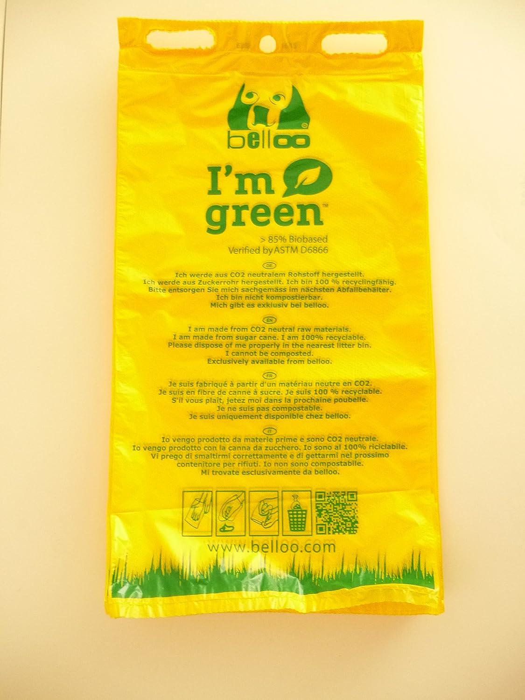 Bio Belloo Hundekotbeutel 50 Stück (rein biologisch hergestellt aus Mais- und Kartoffelstärke) .