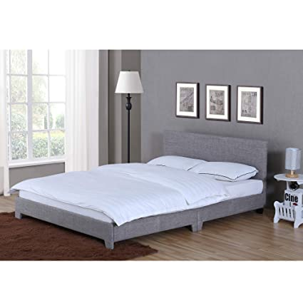 new arrival 94c15 e8c63 Home Victoria Double Bed, 4ft6 Bed Frame Upholstered Fabric Headboard  Bedroom Furniture, Light Grey Linen