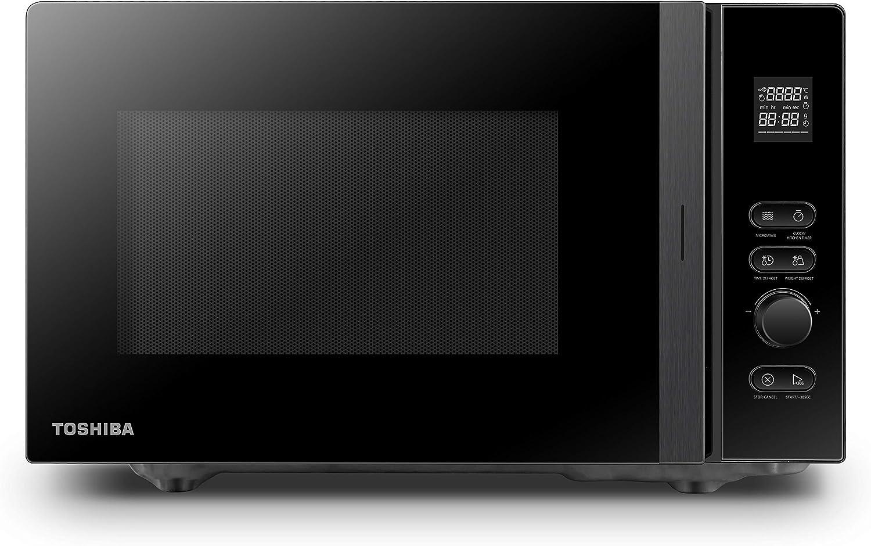 Toshiba MV-AM20T(BK) Mikrowelle/Solo-Mikrowelle/ 20 L/ 800 W/ 5 Leistungsstufen/ 12 Automatikprogramme/Emaille Innenraum/einfach zu reinigen/Auftaufunktion/Glasdrehteller (24 - Mikrowelle mit Grill