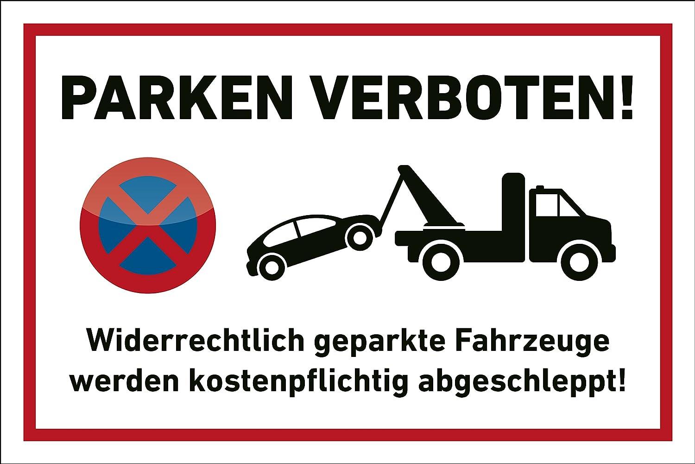 Parkplatz Schild Parken verboten 30x20cm Abschleppen Privatparkplatz ohne Bohrung