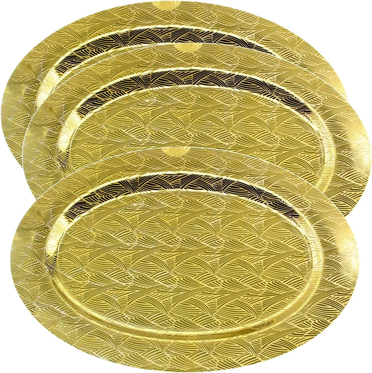 Maro Megastore (Pack of 3) 18.7 inch x 13.2 inch Oval Iron Gold Plated Serving Tray Floor Pattern Floral Edge Decorative Party Birthday Wedding Dessert Buffet Candle Decor Platter Plate Dish TLA-363
