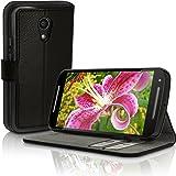 igadgitz Premium Etui Portefeuille Wallet Noir Cuir PU Housse Case Cover pour Motorola Moto G 2ème Génération 2014 XT1068 (G2) avec porte cartes + Support Multi-Angles + Fermeture Magnétique + Film de Protection