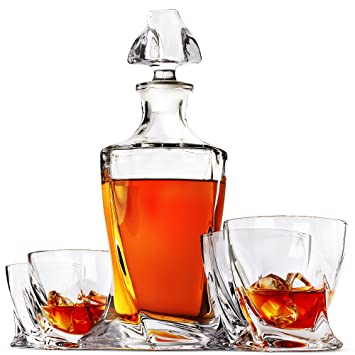 Helix Whiskey Decanter Set, 5 Piece Lead Free Crystal Clarity Glass Set With