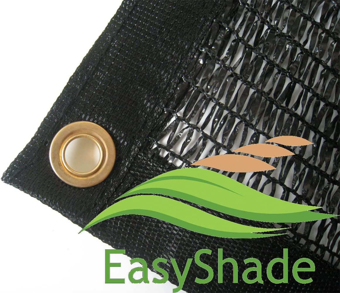 EasyShade 50 Black Shade Cloth Taped Edge with Grommets UV 12ft x 6ft