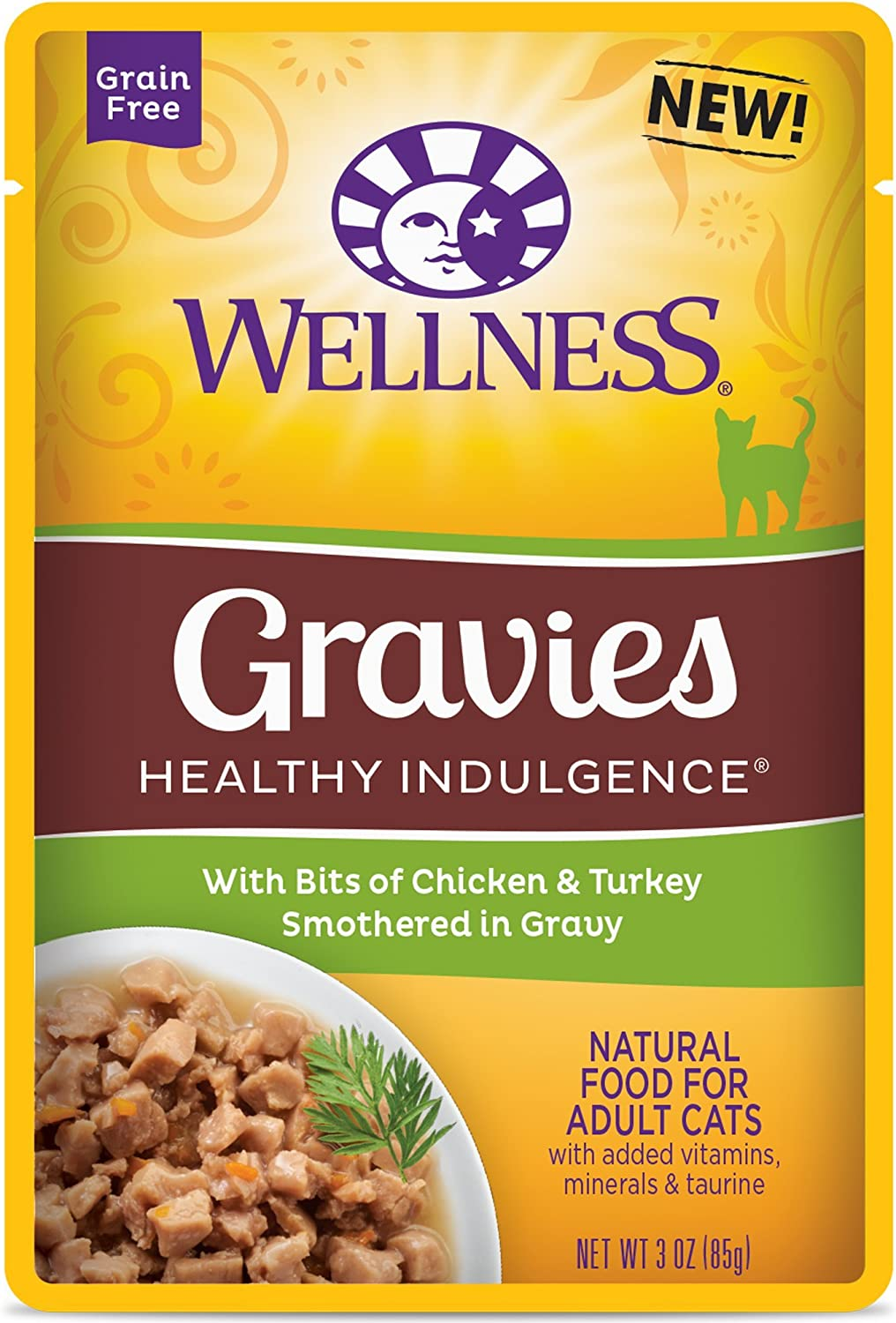 Wellness Healthy Indulgence Natural Grain Free Wet Cat Food, Gravies Chicken & Turkey, 3-Ounce Pouch (Pack Of 24)