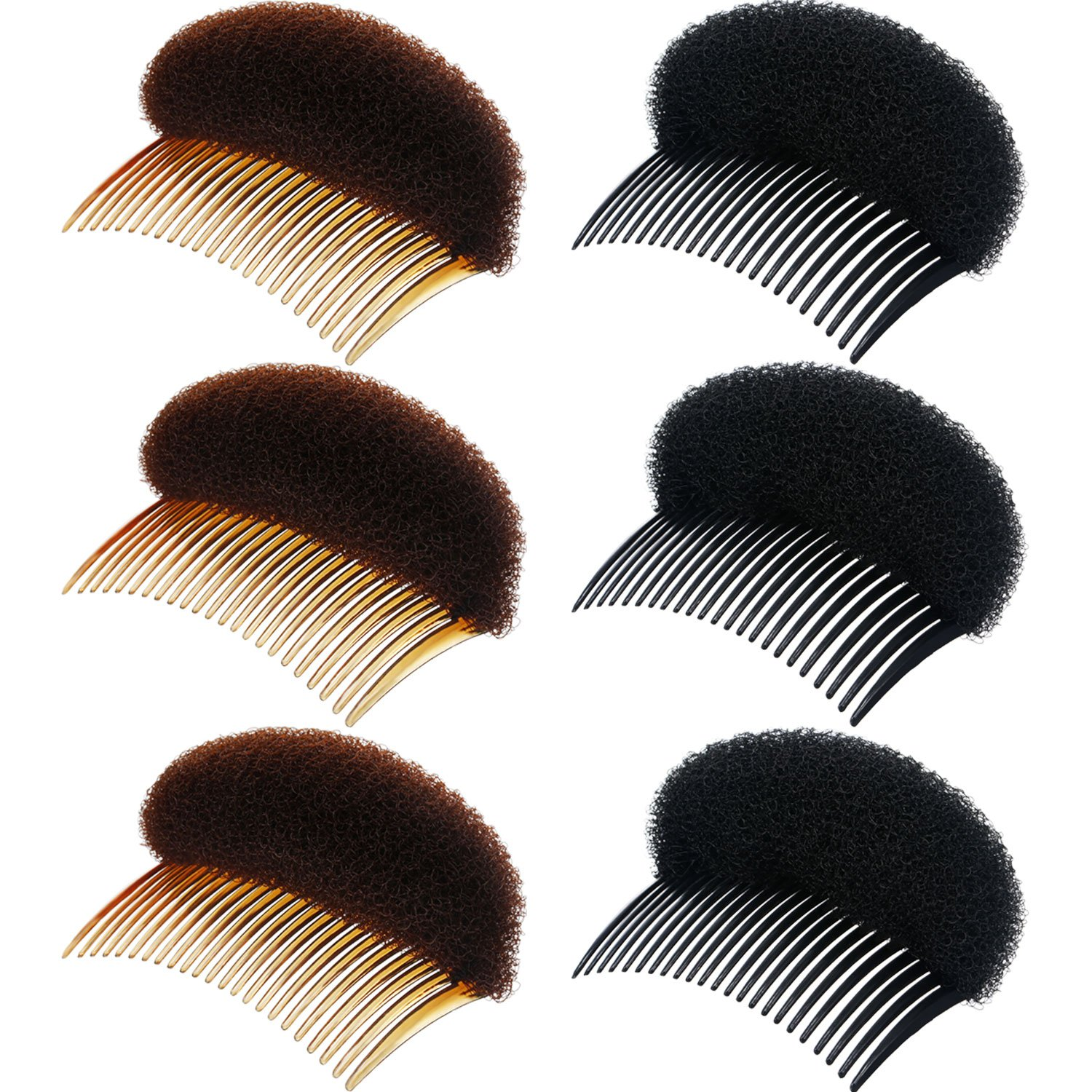 6 Pieces Lady Volume Hair Base Inserts Bump Up Hair Pads Stick Bun Maker Hair Styling Clip Chuangdi