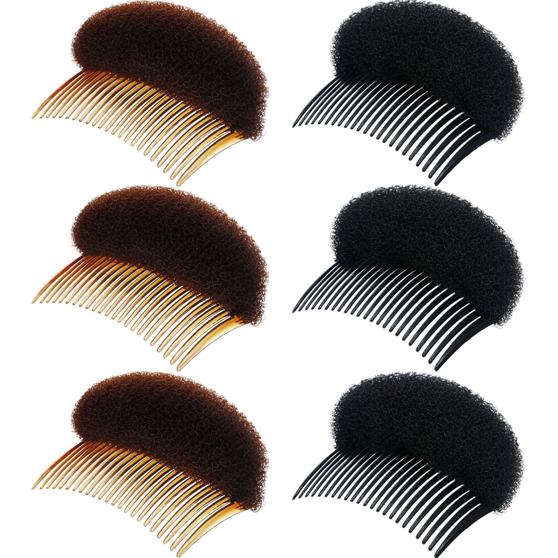 6 Stücke Dame Volumen Haaransatz Einsätze Bump Up Haar Pads Stick Brötchen Hersteller Haar Styling Clip Stick Haar Kamm Geflecht Werkzeug Haar Zubehör (Schwarz und Braun) Chuangdi