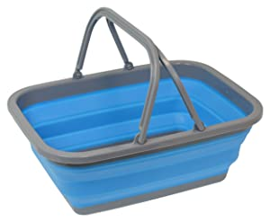 Southern Homewares Collapsible Silicone Market Shopping Basket Tote with Handles, Blue
