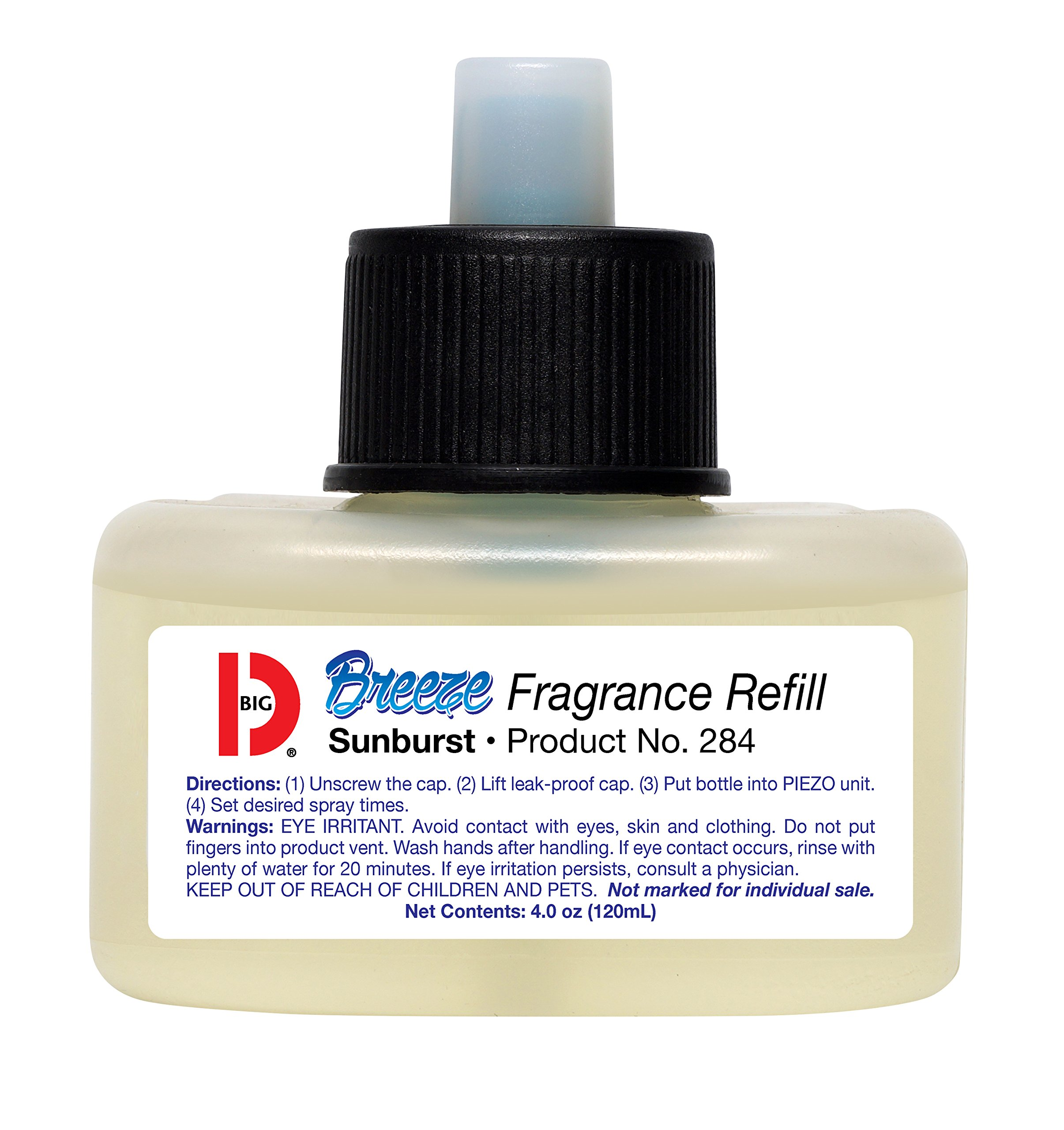 Big D 284 Fragrance Refill for Breeze Dispenser, Sunburst Fragrance (pack of 6) - Automatic Air Freshener with Piezo Technology - Ideal for restrooms, offices, schools, restaurants, hotels, stores