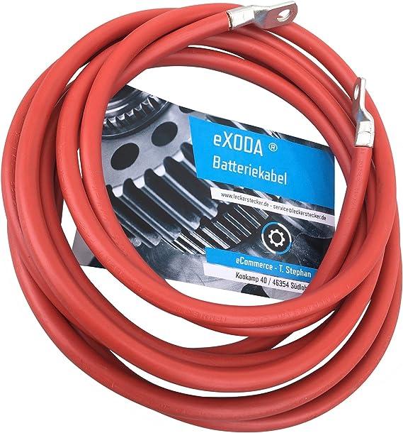 Exoda Batteriekabel 50 Mm 200cm Kupfer Stromkabel Mit Ringösen M8 Rot 12v Kfz Kabel Auto