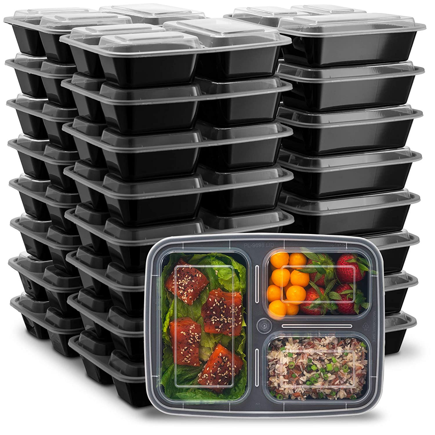 Ez Prepa [25 Pack] 32oz 3 Compartment Meal Prep Containers with Lids - Food Storage Containers BPA Free Plastic, Bento Box, Lunch Containers, Microwavable, Freezer and Dishwasher Safe, Food Containers