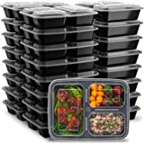 Ez Prepa [25 Pack] 32oz 3 Compartment Meal Prep Containers with Lids -Food Storage Containers BPA Free Plastic, Bento Box, Lu